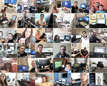 collage of employees working from home