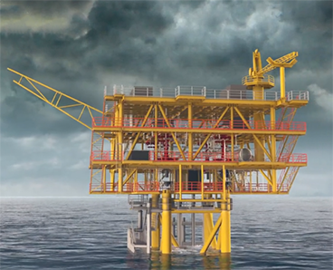 illustration of a conductor supported offshore platform