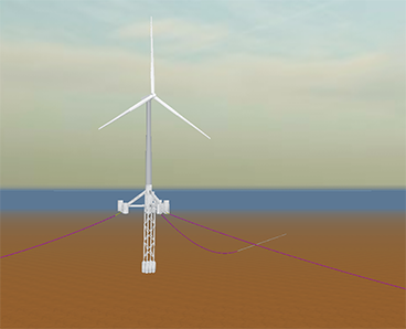 Floating offshore wind turbine illustration