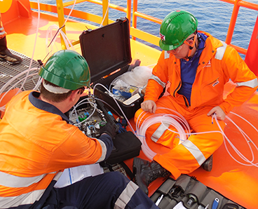 engineers conducting flexible riser annulus offshore